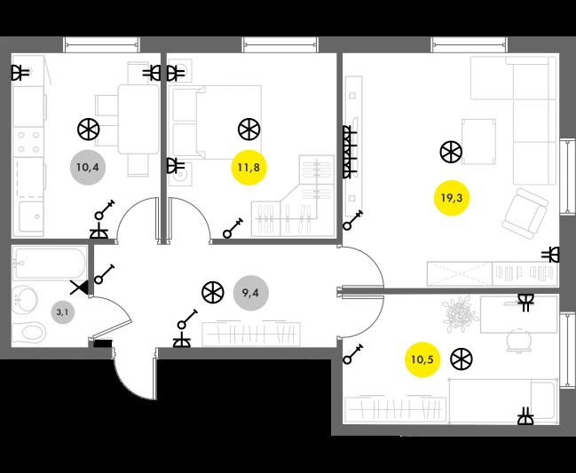 Пример схемы расположения электрики для 3к-квартиры